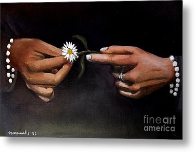 Hands And Daisy Metal Print