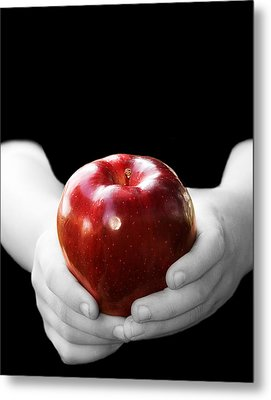 Hands Holding Apple Metal Print by Trudy Wilkerson