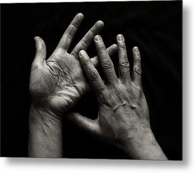 Hands On Black Background Metal Print by Luigi Masella