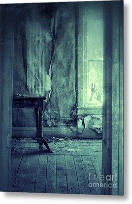 Hands On Window Of Creepy Old House Metal Print by Jill Battaglia