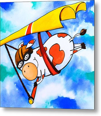 Hang Glider Cow Metal Print