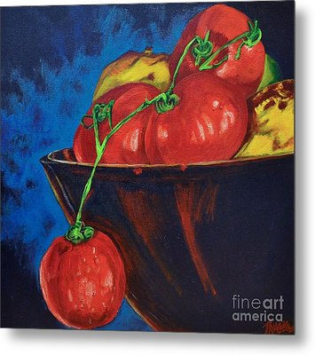 Hanging Tomato Metal Print by Theresa Eisenbarth