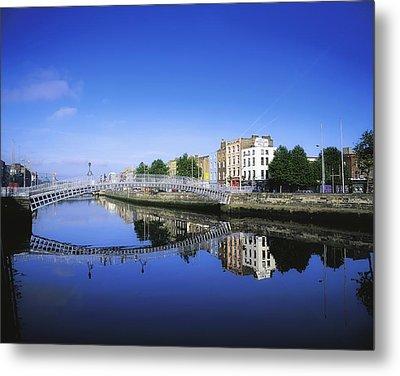 Hapenny Bridge, River Liffey, Dublin Metal Print by The Irish Image Collection