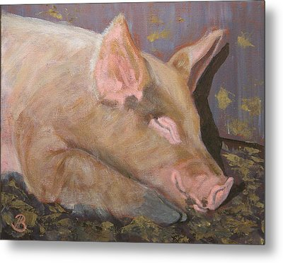 Metal Print featuring the painting Happy As A Pig by Joe Bergholm