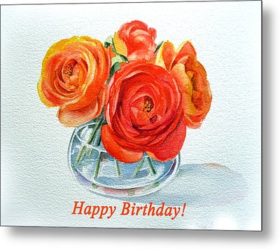 Happy Birthday Card Flowers Metal Print by Irina Sztukowski