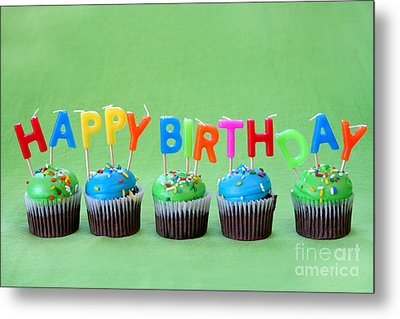 Happy Birthday Cupcakes Metal Print by Darren Fisher