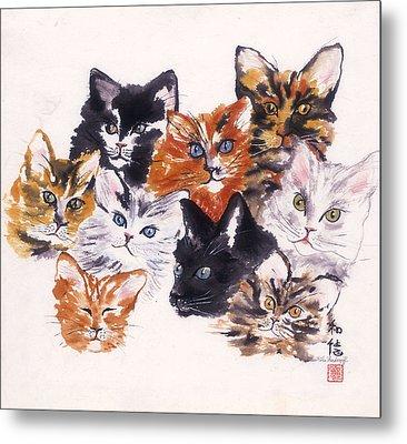 Happy Cats Metal Print by Hilda Vandergriff