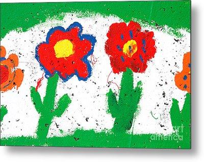 Happy Colorful Flowers Metal Print by Gaspar Avila