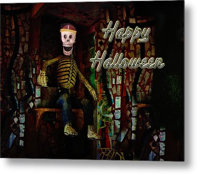 Happy Halloween Skeleton Greeting Card Metal Print by Mother Nature