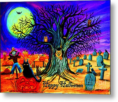 Happy Halloween Spooky Night Metal Print by Nick Gustafson