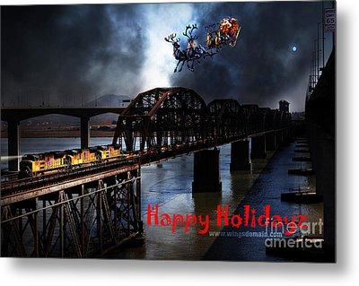 Happy Holidays - Once Upon A Time In The Story Book Town Of Benicia California - 5d18849 Metal Print by Wingsdomain Art and Photography