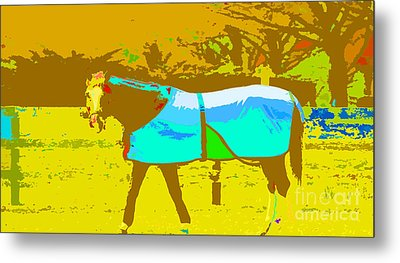 Happy Horse Pop Art Metal Print by Artyzen Studios
