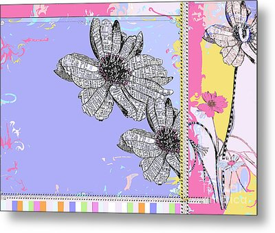 Happy Joyful Flowers Licensing Art Metal Print by Anahi DeCanio