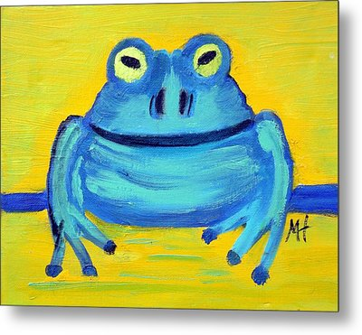 Metal Print featuring the painting Happy Male Frog by Margaret Harmon