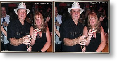 Happy New Year - Gently Cross Your Eyes And Focus On The Middle Image That Appears Metal Print by Brian Wallace