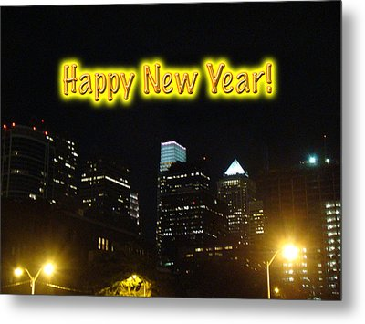 Happy New Year Greeting Card - Philadelphia At Night Metal Print by Mother Nature