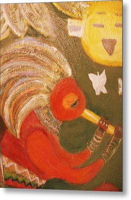 Happy Sun And Kokopelli With Feathers Metal Print by Anne-Elizabeth Whiteway