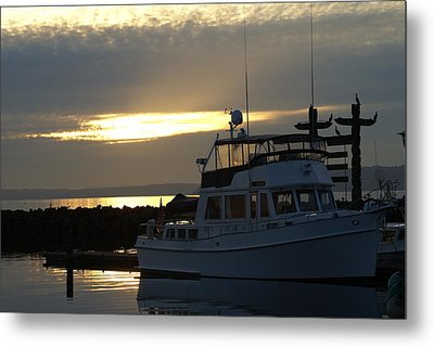 Metal Print featuring the photograph Harbor At Sunset by Jerry Cahill