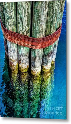 Harbor Dock Posts Metal Print by Michael Garyet