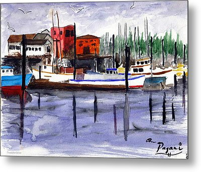 Metal Print featuring the painting Harbor Fishing Boats by Chriss Pagani