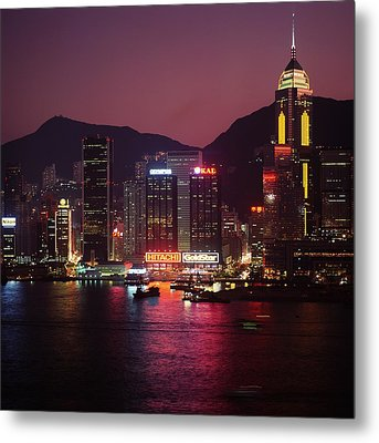 Harbour View At Night Metal Print by Axiom Photographic