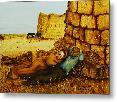 Metal Print featuring the painting Hard Labor Fatigue by Itzhak Richter