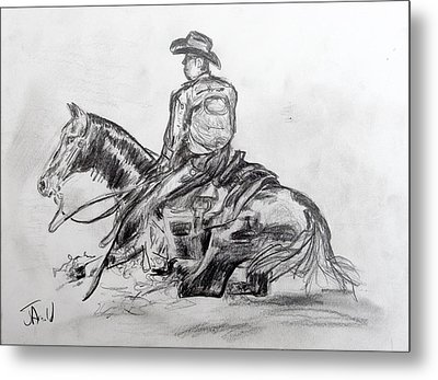 Metal Print featuring the drawing Hard Stop II by Jim  Arnold