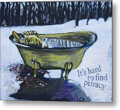 Metal Print featuring the painting Hard To Find Privacy by Tilly Strauss