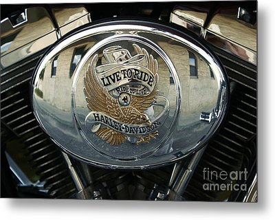 Harley Davidson Bike - Chrome Parts 44c Metal Print