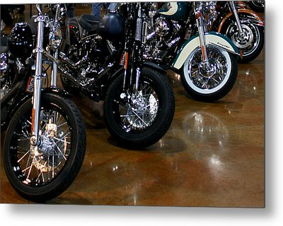 Metal Print featuring the photograph Harley Wheels by Karen Harrison