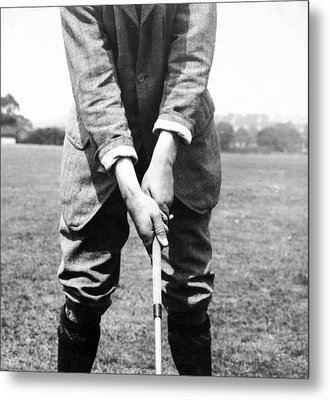 Metal Print featuring the photograph Harry Vardon Displays His Overlap Grip by International  Images