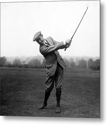 Metal Print featuring the photograph Harry Vardon Swinging His Golf Club by International  Images
