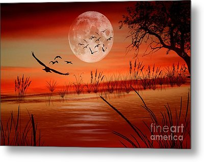 Harvest Moon Metal Print by Erica Hanel