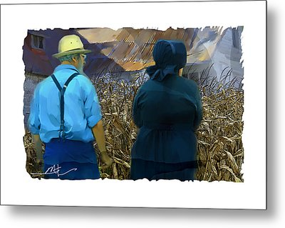 Harvesting The Corn Metal Print by Bob Salo