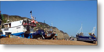 Hastings Fishing Fleet Metal Print by Sharon Lisa Clarke