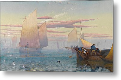 Hauling In The Nets Metal Print