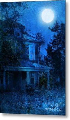 Haunted House Full Moon Metal Print by Jill Battaglia