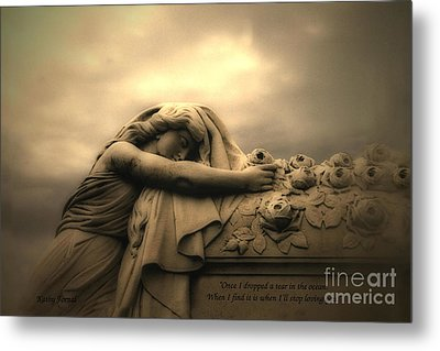 Haunting Cemetery Angel Mourner Rose Casket Metal Print by Kathy Fornal