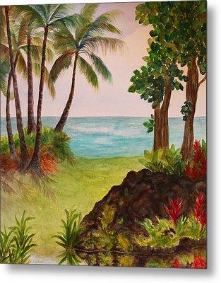 Metal Print featuring the painting Hawaiian Oceanside by Kerri Ligatich