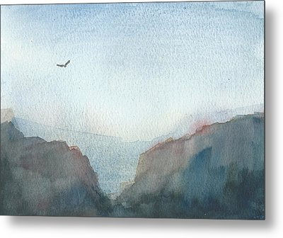 Hawk Above The Red Cliffs Metal Print by Alan Daysh