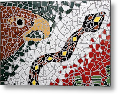 Hawk And Snake Mosaic Metal Print by Carol Leigh