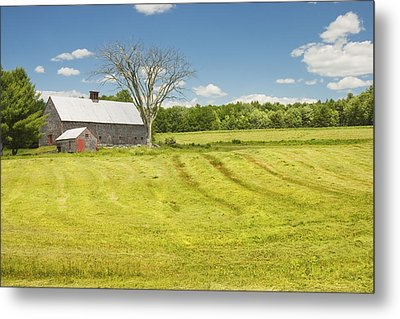 Hay Being Harvested Near Barn In Maine Metal Print by Keith Webber Jr