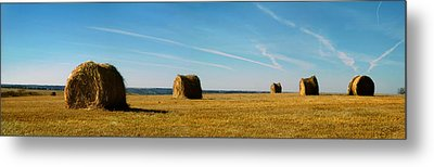 Metal Print featuring the photograph Haybales And Jet Trails by Rod Seel