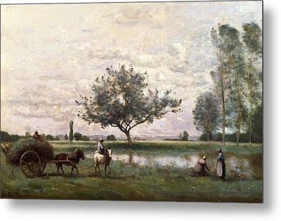 Haycart Beside A River  Metal Print by Jean Baptiste Camille Corot