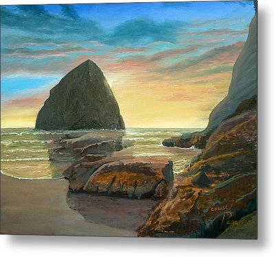 Metal Print featuring the painting Haystack Kiwanda Sunset by Chriss Pagani