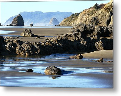 Haystack Rock From Arcadia Beach Metal Print