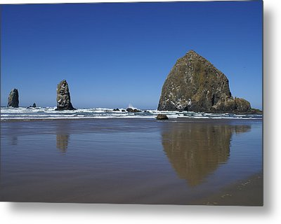Haystack Rock Metal Print by Jerry Cahill