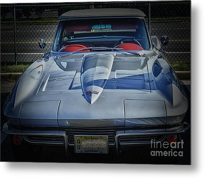 Hdr Corvette Classic Convertible Old School Cool Photo Picture Auto Photography Pictures Car Cars  Metal Print by Pictures HDR