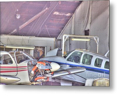 Hdr Planes Being Fixed Metal Print by Pictures HDR