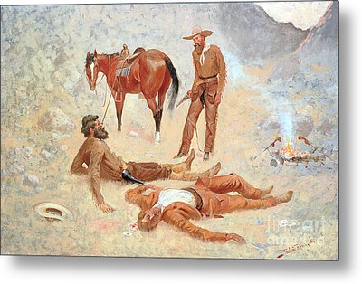 He Lay Where He Had Been Jerked Still As A Log  Metal Print by Frederic Remington